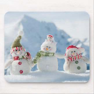 Merry Christmas and Happy New Year Snowmen Mouse Pad