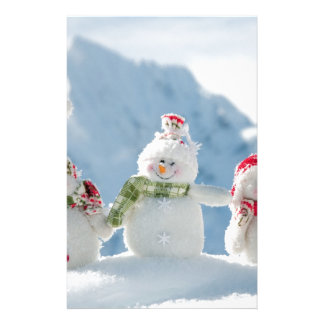 Merry Christmas and Happy New Year Snowmen Stationery Paper