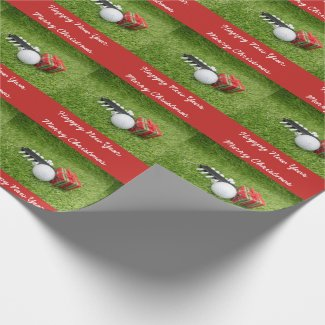 Merry Christmas and Happy New Year to golfer Wrapping Paper