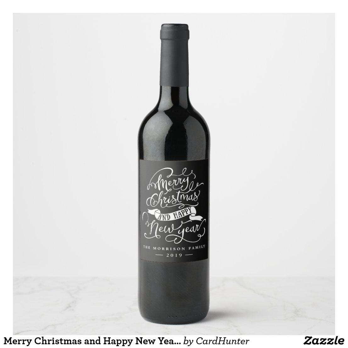 Merry Christmas and Happy New Year Typography Wine Label