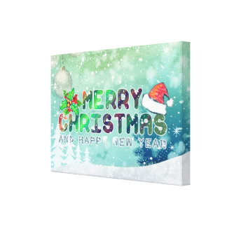 Merry Christmas and Happy New Year Wrapped Canvas
