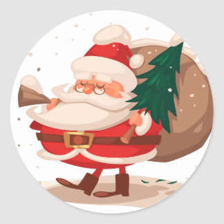 merry christmas and happy newyear classic round sticker