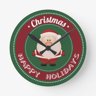 merry christmas and happy newyear round clock