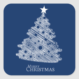 merry christmas and happy newyear square sticker