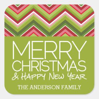 Merry Christmas and HNY - Custom Bright Chevrons Square Sticker
