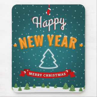 Merry Christmas and New Year greetings Mouse Pads