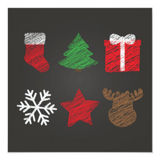 Merry Christmas And New Year Symbols Card