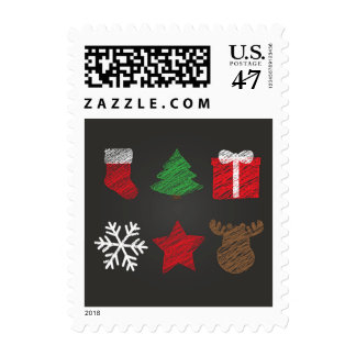 Merry Christmas And New Year Symbols Postage Stamp