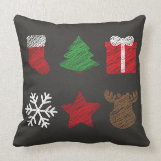 Merry Christmas And New Year Symbols Throw Pillow