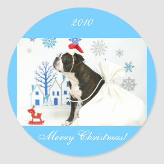 Merry Christmas and Pocky. Classic Round Sticker