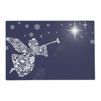 Merry Christmas Angel Blowing Trumpet Silhouette Placemat