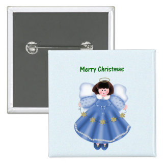 Merry Christmas (angel - blue) Pinback Buttons