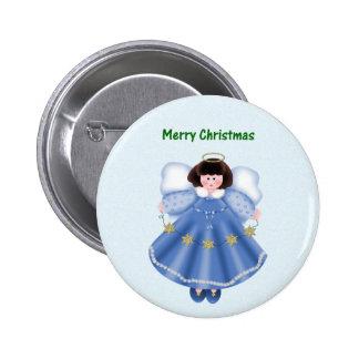 Merry Christmas (angel - blue) Pins