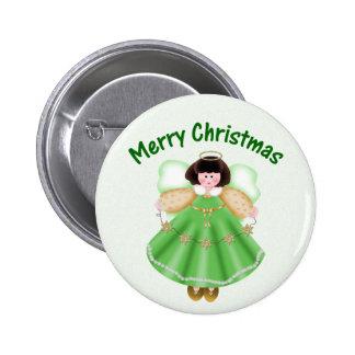 Merry Christmas (angel - green) Button