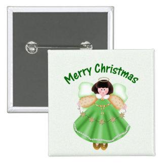 Merry Christmas (angel - green) Pins