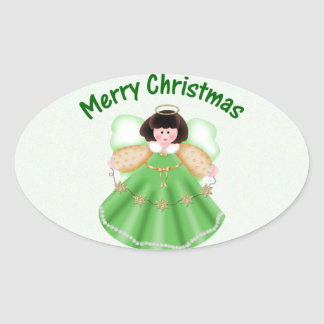 Merry Christmas angel - green Oval Sticker