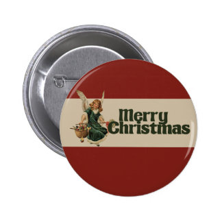 Merry Christmas Angel Pinback Buttons