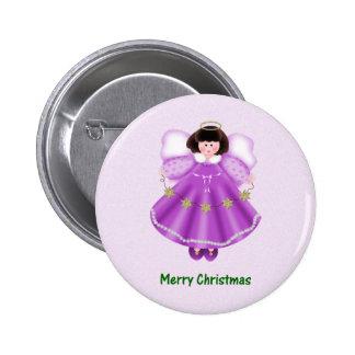 Merry Christmas (angel - purple) Button