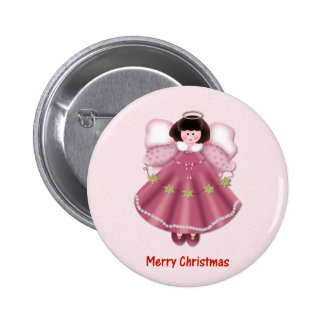 Merry Christmas (angel - red) Button