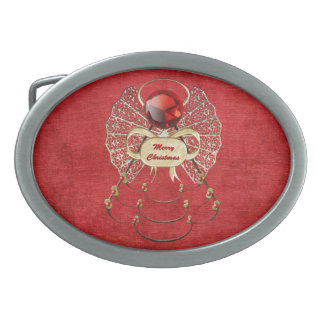 Merry Christmas Angel - Red Oval Belt Buckle