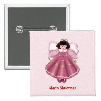Merry Christmas (angel - red) Pinback Buttons