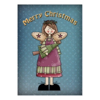 Merry Christmas Angel with tree Large Business Card