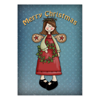 Merry Christmas Angel with Wreath Large Business Cards (Pack Of 100)