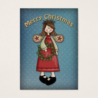 Merry Christmas Angel with Wreath Business Card