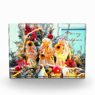 merry christmas angels trumpeting acrylic award