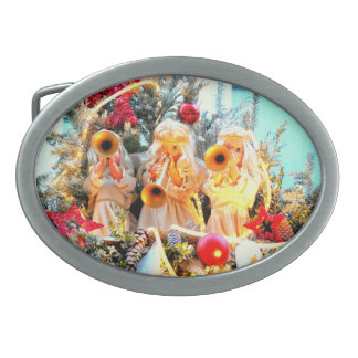 merry christmas angels trumpeting oval belt buckle