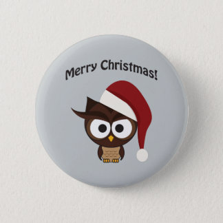 Merry Christmas Angry Owl Pinback Button