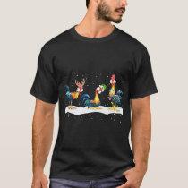 merry christmas animals farm snow chicken T-Shirt
