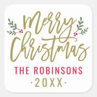 Merry Christmas   Antique Gold Script Square Sticker