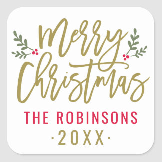 Merry Christmas | Antique Gold Script Square Sticker