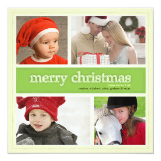 Merry Christmas Antique & Green 4 Photo Greeting Card