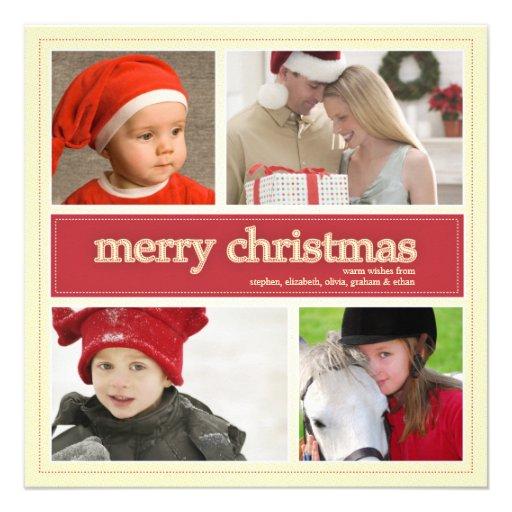 Merry Christmas Antique & Red 4 Photo Greeting Custom Invitation