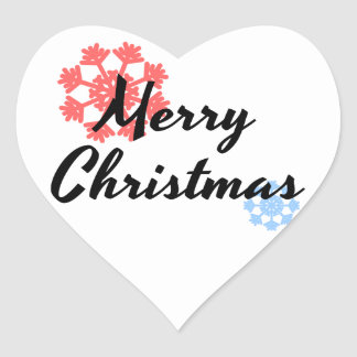 Merry Christmas. Apparel for men and women. T-shir Heart Sticker