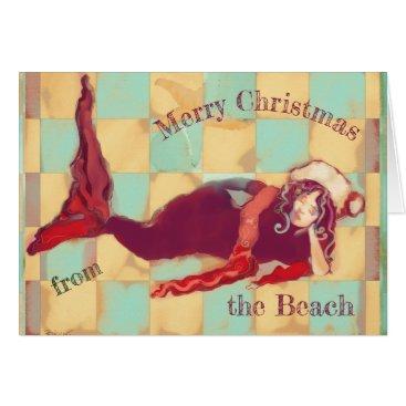 Beach Themed Merry Christmas Artsy Beach Mermaid Santa Card