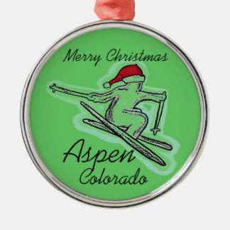 Merry Christmas Aspen Colorado skier ornament
