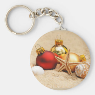 Merry Christmas At the Beach Basic Round Button Keychain