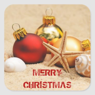 Beach Themed Merry Christmas At the Beach Square Sticker