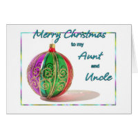 Merry Christmas Aunt and Uncle Multicolored Glass  Card