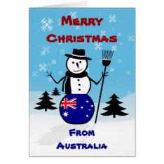Merry Christmas Australia Snowman Card at Zazzle