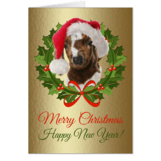 Merry Christmas Baby Boer Goat Oil Painting Card