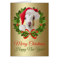 Merry Christmas Baby LaMancha Goat Kid Painting Card