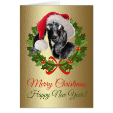 Merry Christmas Baby Nubian Goat Kid Oil Painting Card