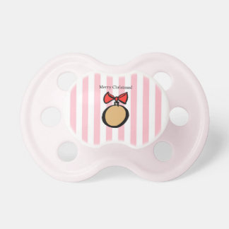 Merry Christmas Baby Pacifier with Pink Stripes