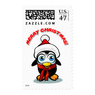 Merry Christmas Baby Penguin With Santa Hat Postage