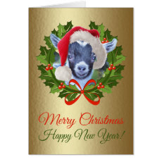 Merry Christmas Baby Pygmy Goat Kid Oil Painting Card