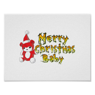 Merry Christmas Baby Red Teddy Bear Pillow Decals Posters